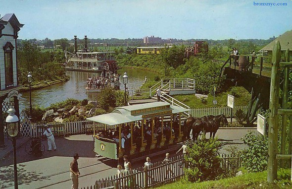 The Bronx had one of the biggest and best amusement parks EVER, Freedomland! Here is a picture of the park; you can see a horse drawn trolley carrying excited visitors. It was shaped like the United States and had historical themes and attractions, such as the Chicago Fire and Old New York. It was built where present day Co-Op City is, currently the largest cooperative housing development in the world. Sadly, it only lasted 4 years as the location was tough to get to and the colder seasons did not allow for as many visitors as sunny California or Florida would allow for the Disney theme parks. Wednesday, February 18th at 7:30P, there will be a FREE lecture on Freedomland at the East Bronx History Forum.