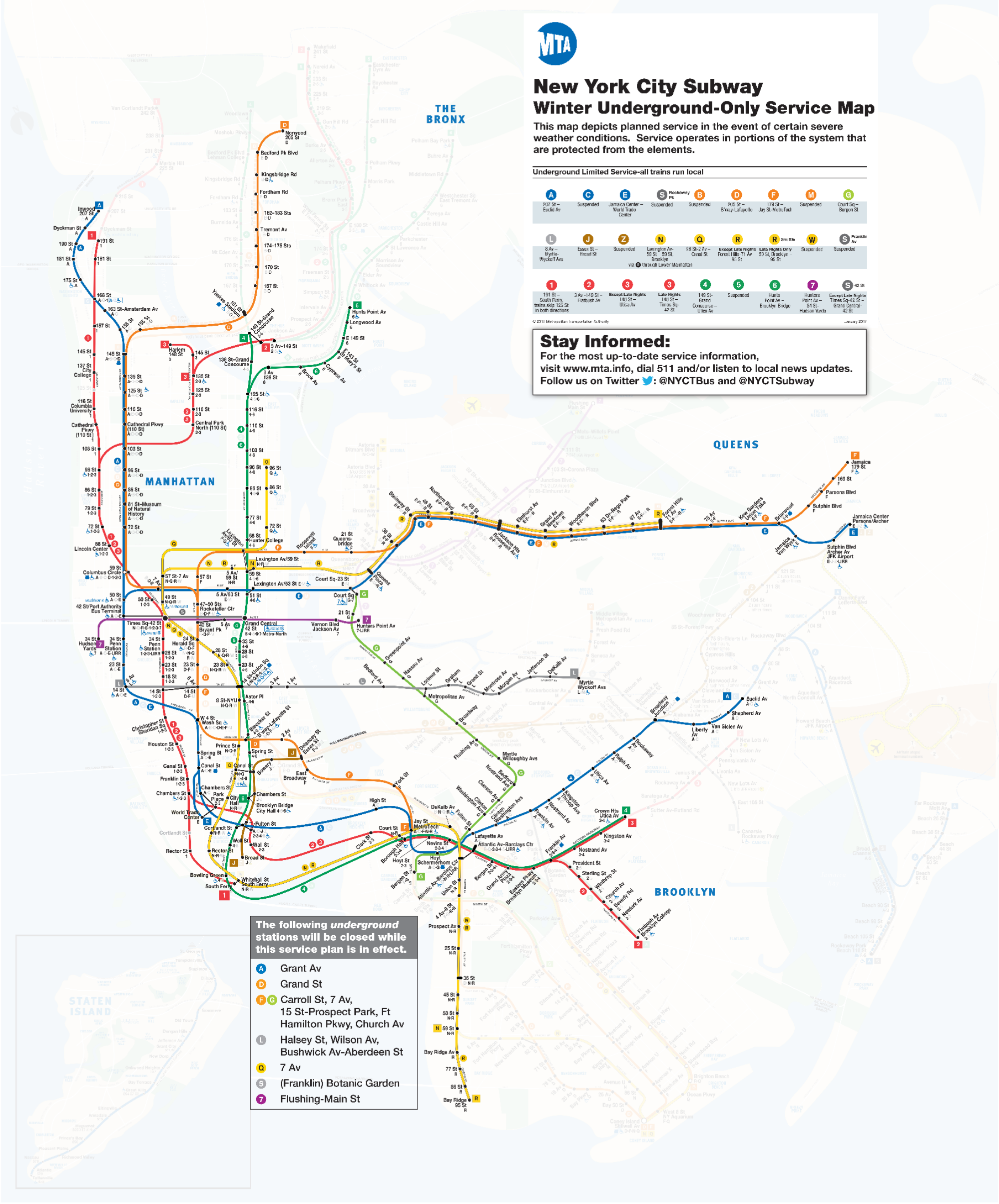 This is Your NYC Subway Map For The Blizzard—ALL ABOVE GROUND ...